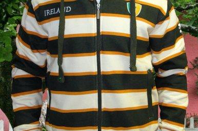 Shirt: Green and Orange Stripe Zip Hoodie