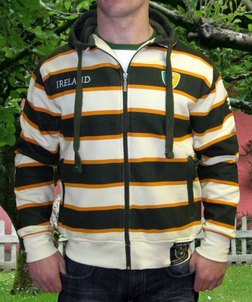 Shirt: Green and Orange Stripe Zip Hoodie