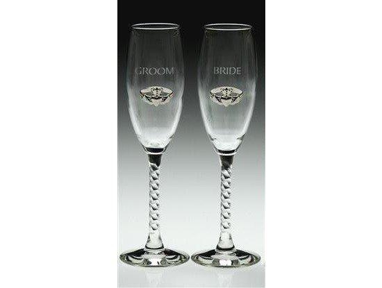Glass: B/G Flutes Silver Claddagh