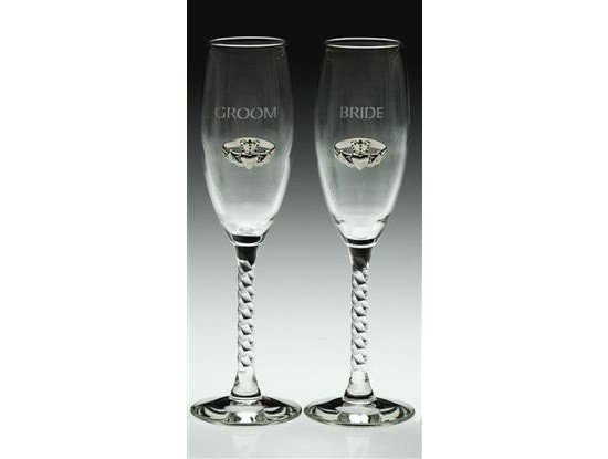 Glass: Flute, Br&Gr Silver Clad, pair