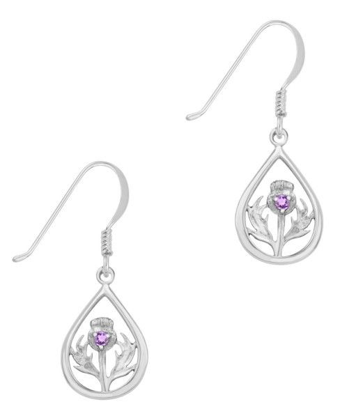 Earrings: Silver Thistle, Amethyst Stone