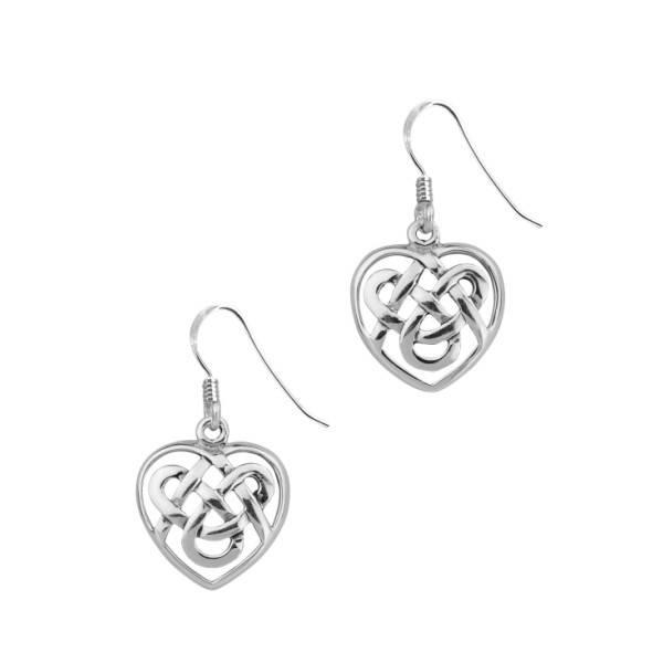 Earrings: Silver Celtic Heart