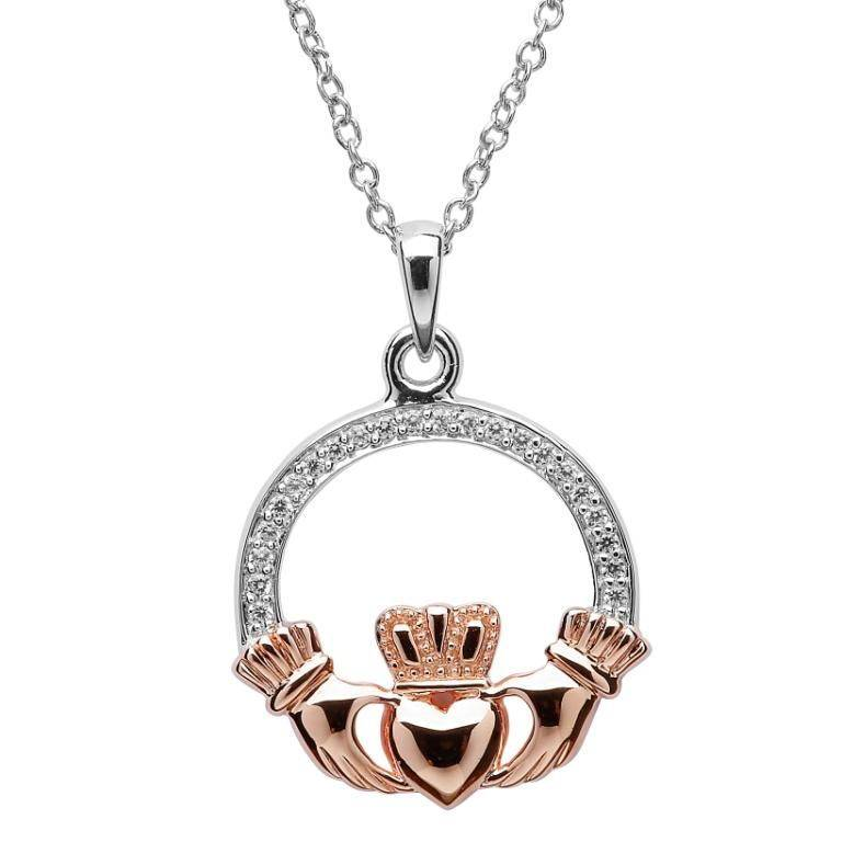 Pendant: Silver Rose Gold Plate CZ