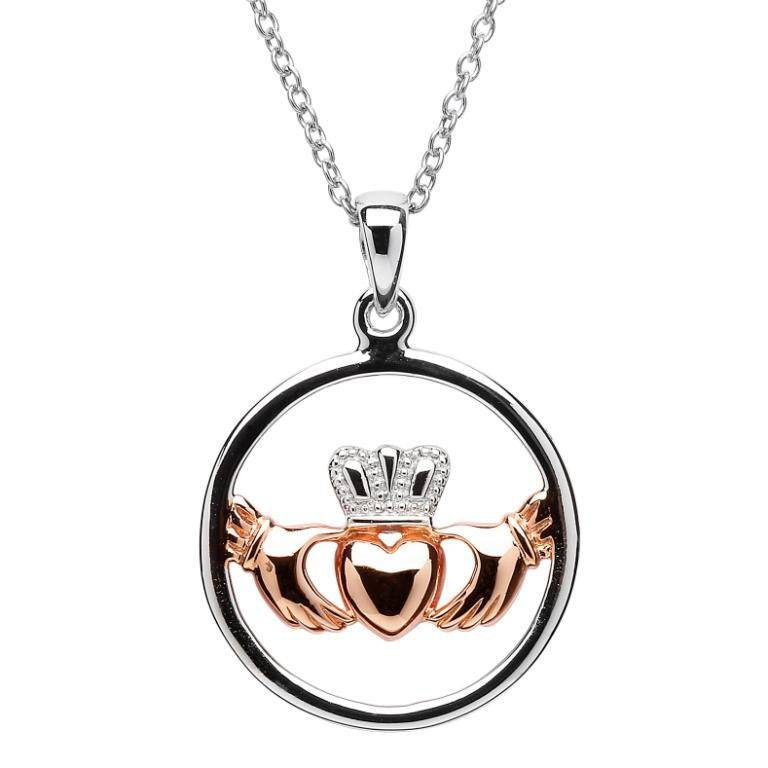 Pendant: Sil Rose Gold Claddagh