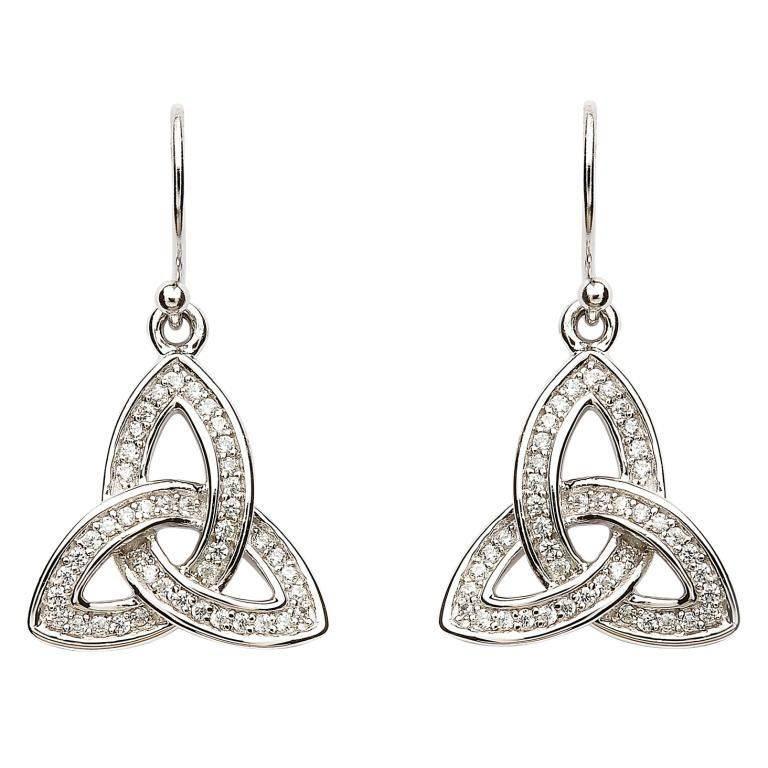 Earring: SS Pave Set Trinity