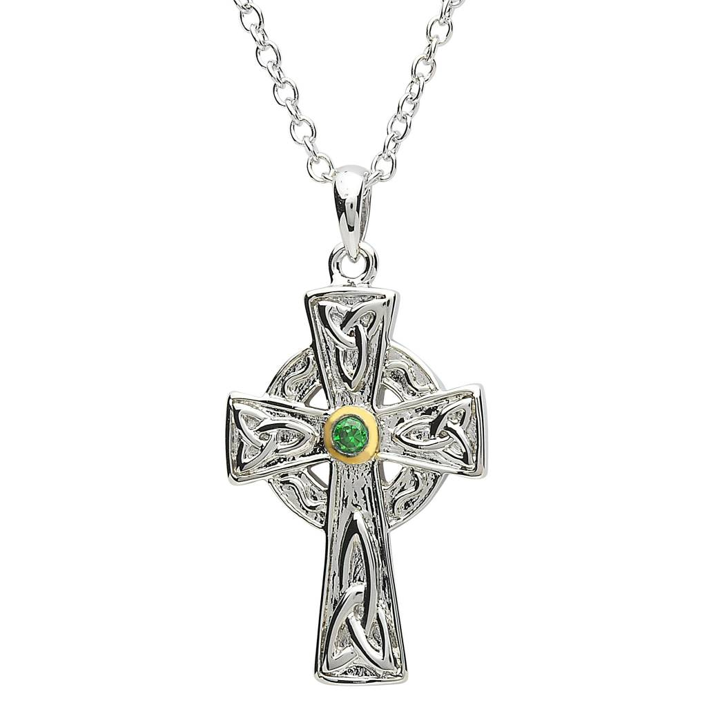 celtic silver pendant necklace jewelry sterling with garnet gemstone bling cross