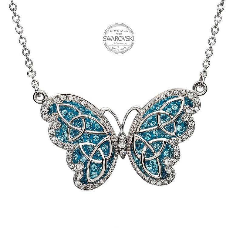 Pendant: SS Butterfly Aqua Swarovski