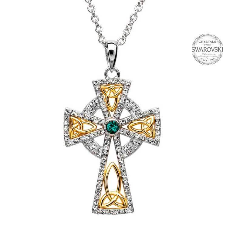 Pendant: SS Celtic Cross White/Gr Swarovski