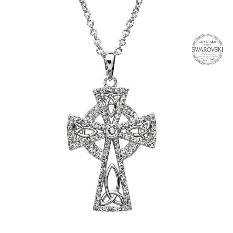 Pendant: SS Celtic Cross White Swarovski