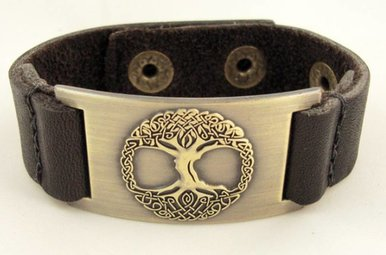 Bracelet: Tree of Life, Leather & Zinc Alloy