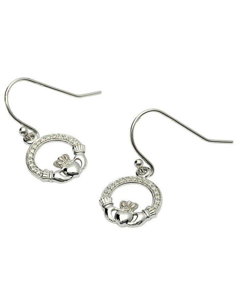Earrings: SS Pave Set Claddagh