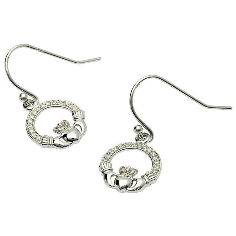Earring Ss Pave Set Claddagh