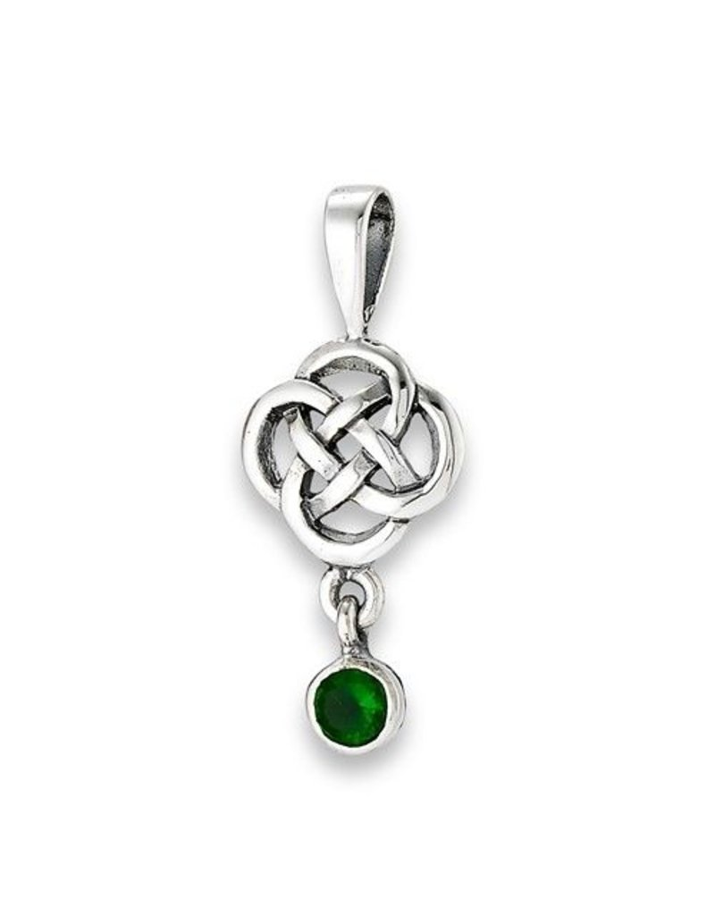 Necklace: SS Celtic Knot, Green CZ Dangle WE9364