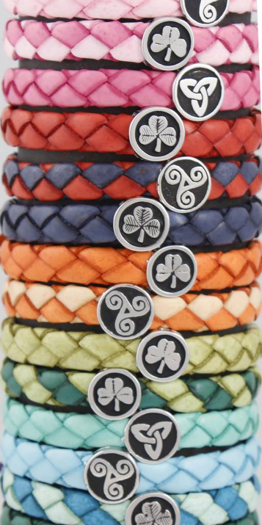 Leather Bracelet: Colored Leather Braid, Wide