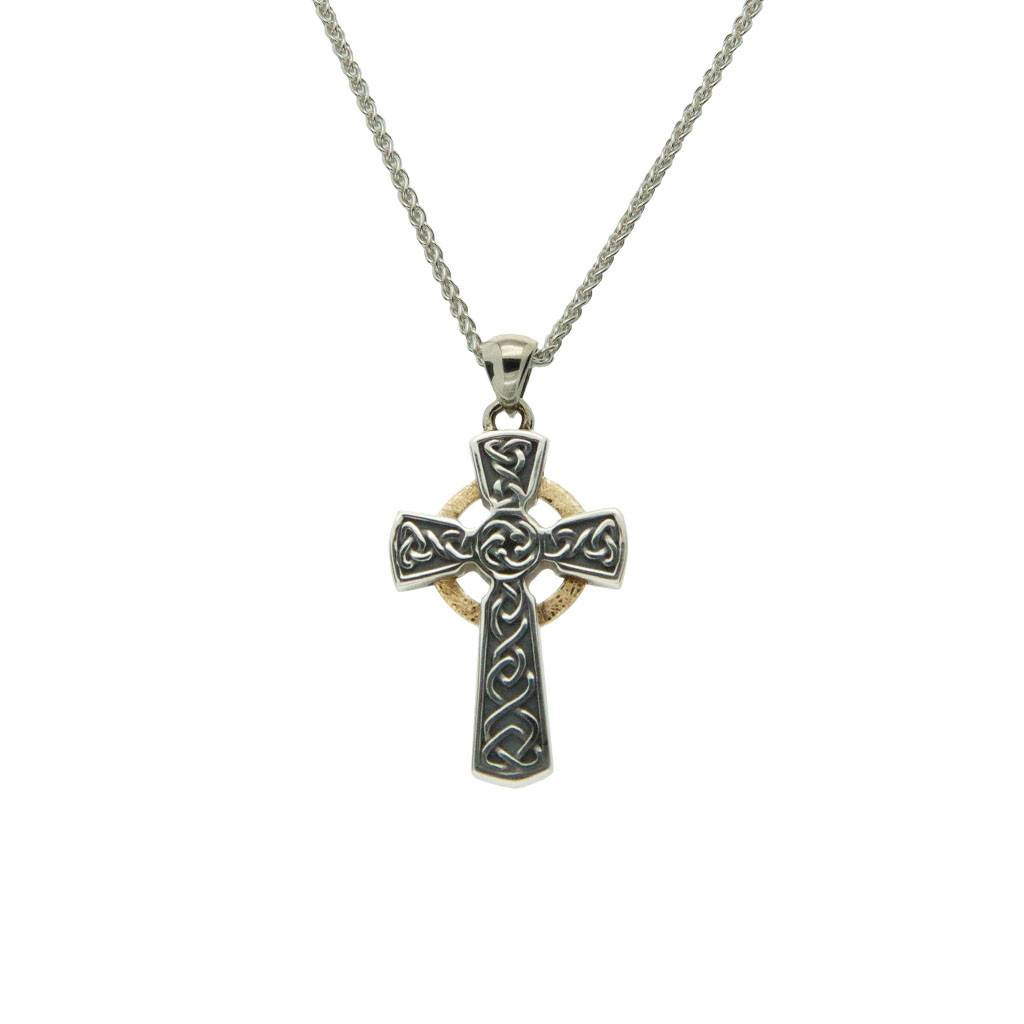 Pendant: Oxidized Sterling & 10k Circle Cross, Sm