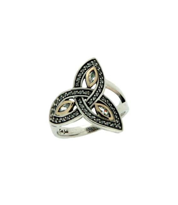 Ring: Sterling Silver 10k Trinity CZ