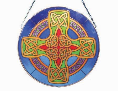 Stained Glass: Celtic Cross Round Blue