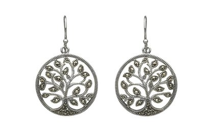 Earrings: Sterling Silver Marcasite Tree of Life