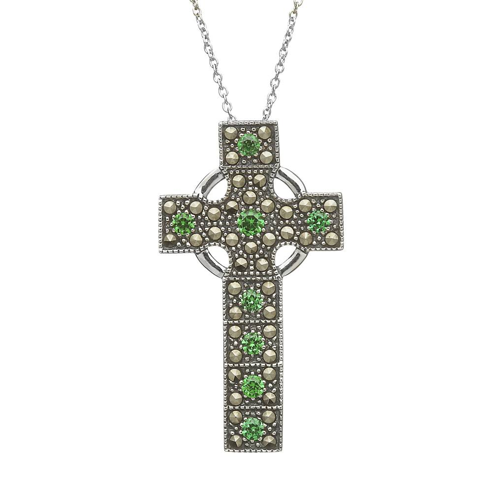 Pendant: Sterling Silver Marcasite/Emerald Cross