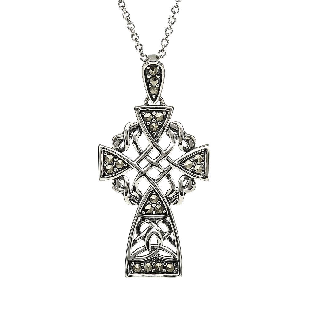Pendant: Sterling Silver Marcasite Celtic Cross