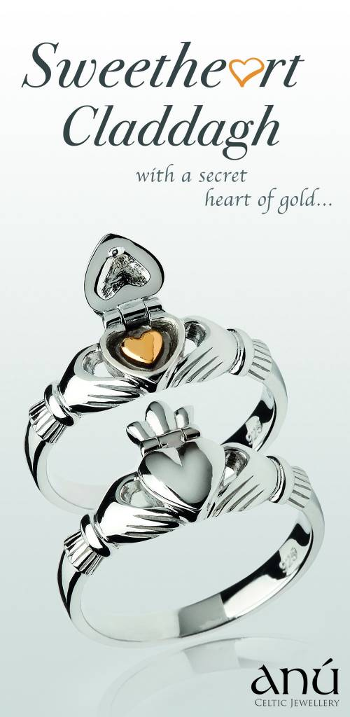 Ring: SS Claddagh with 14k Hidden Heart