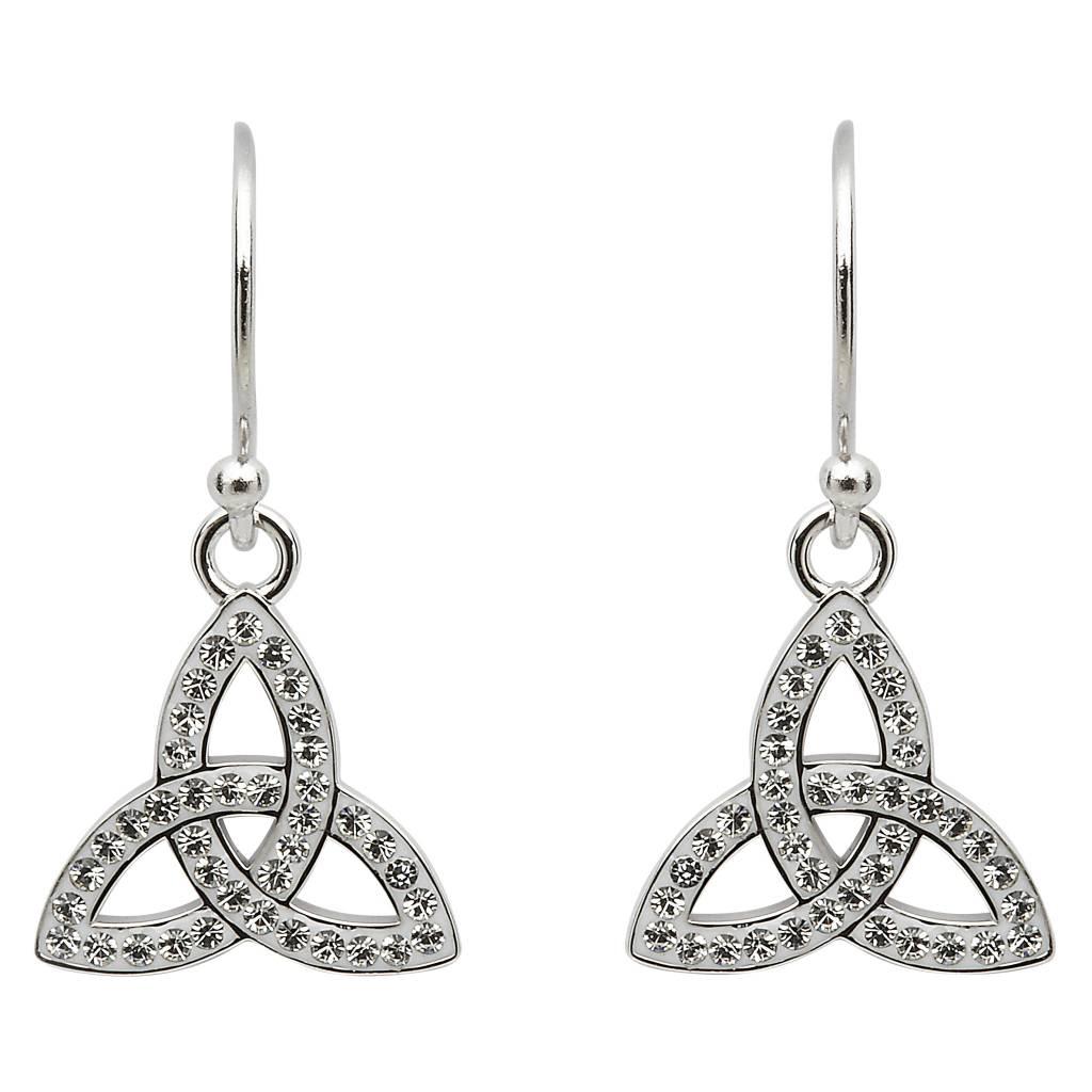 Earrings: SS White Swarovski Trinity Drop