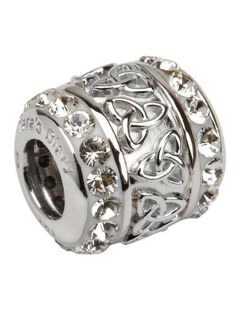 Bead: Silver White Swarovski Trinity