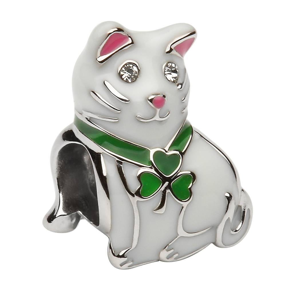 Bead: Silver Cat
