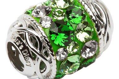 Bead: Silver Green Swarovski Celtic
