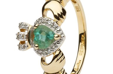 Ring: 14k Gold Claddagh Emerald & Diamond