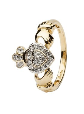 Ring: 14k Gold Claddagh Diamond