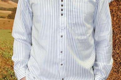 Shirt: Cotton Grandfather Small Blue Stripe