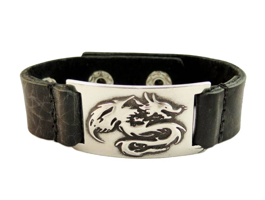 Leather Bracelet: Dragon, Leather & Pewter