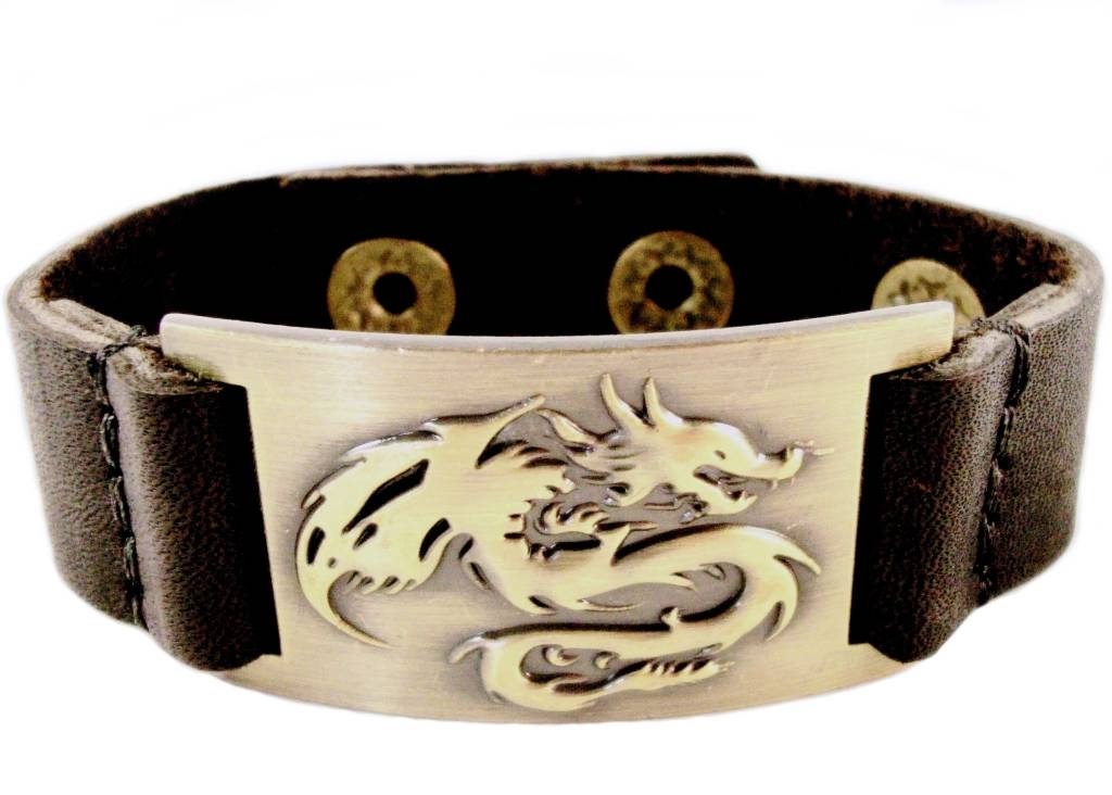 Leather Bracelet: Dragon, Leather & Zinc Alloy