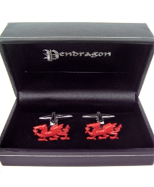 Cufflinks: Wales Rhodium Plated Dragon, Red