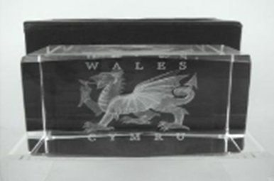Paperweight: Wales Dragon, Laser Cut Glass