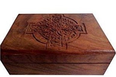 "Jewelry Box: Celtic Cross, Wooden (4""x6"")"