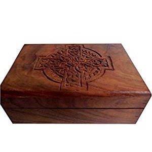 "Jewelry Box: Celtic Cross, Wooden (9""x6"")"