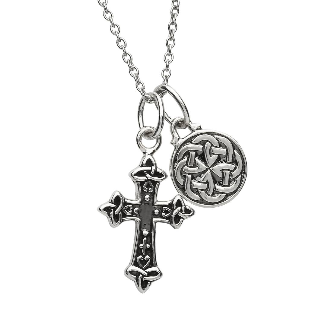 Pendent: SS Cross and Celtic Charm Dbl