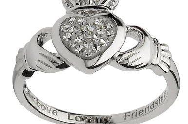 Ring: SS Clear Swarovski Claddagh