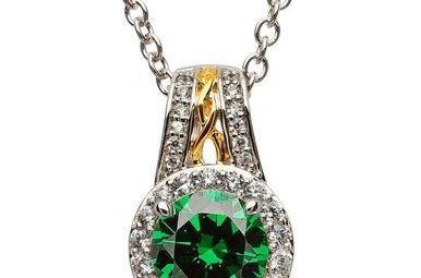 Pendant: SS Round Halo Green CZ