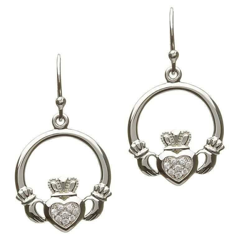 Earrings: SS Pave Claddagh