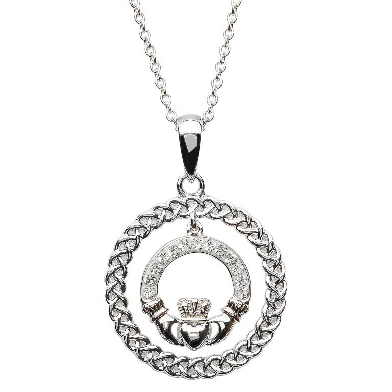 Pendent: SS Claddagh Crcle Swarovski
