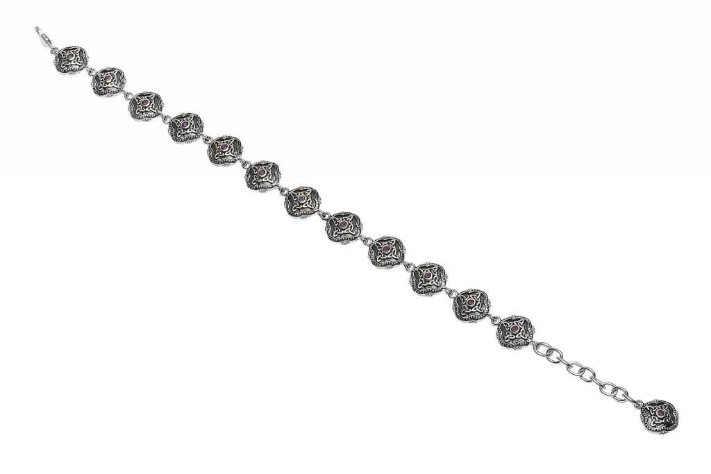 Bracelet: SS Amethyst Charm Bracelet