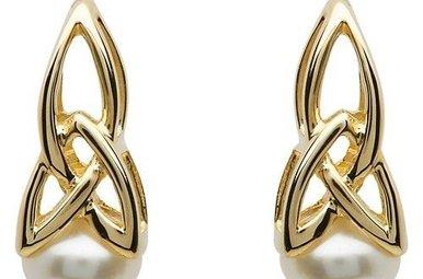 Earring: 10k Gold Pearl Trinity