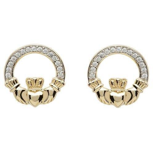 Earring: 10k CZ Claddagh Stud
