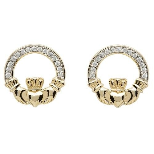 celtic earrings heritage image cz claddagh stud
