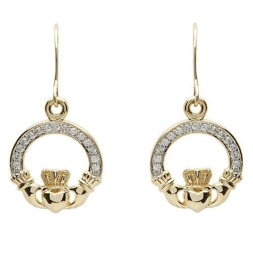 Earrings: 10k CZ Claddagh