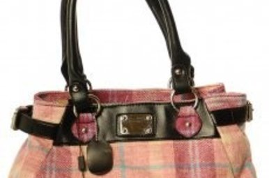 Bag: Ladies 12oz Wool Metal Plate Pink Check