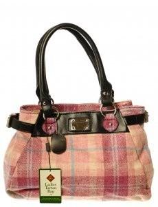 Bag: Ladies 12oz Wool Metal Plate Pink Check
